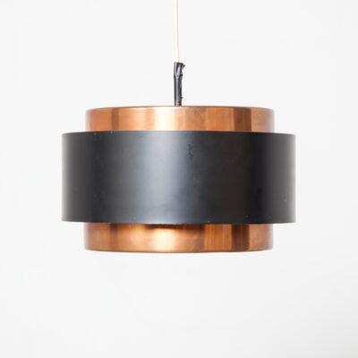 Juno Saturn serie hangende hanglamp licht Jo Johannes Hammerborg FM Fog & Mørup Denemarken aluminium gepoedercoat koper zwart origineel label sticker plafond stofkap E27 Scandinavisch Modern midden van de eeuw vintage retro 60s 1960s XNUMXs