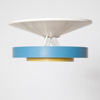 ウォールシーリングライトランプルイスカルフフィリップスブルーイエローホワイトプラフォニエールミラーバルブメタルパウダーコーティング磁器フィッティングE27UFOフライングソーサーサターンリングエボルオンダッチデザインインダストリアルヴィンテージレトロミッドセンチュリーモダン50年代1950年代XNUMX年代