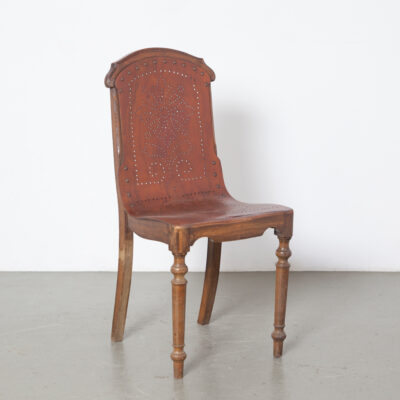 Church Chairs perforated bent plywood seat back turned legs solid wood frame enamelled number badge brass finishing nails turn-of-the-century seating vintage retro 1890s eighteen-nineties antiquedecor prewar brocante decorative