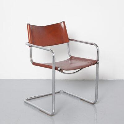 Cadeira MG5 Marcel Breuer Mart Stam conhaque couro marrom cromo tubular cantilever flutuante sela grossa Bauhaus 1920 design retro vintage clássico anos 20 XNUMX meados do século moderno assento em tubo