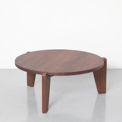 Guéridon Bas coffee table Jean Prouvé Vitra solid American Walnut oiled bent sheet metal black wood 3 legs heavy sturdy robust 1940s forties vintage retro mid-century modern simplicity