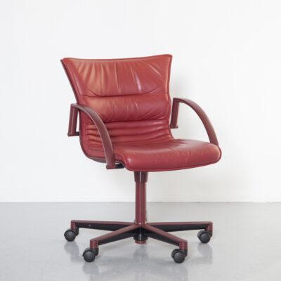アルバートストールジロフレックスカンファレンスチェアブルゴーニュレッドレザースイベルホイールキャスターアームレスト人間工学に基づいたデザイン会議オフィスデスクワークシート90年代1990年代XNUMX年代実用