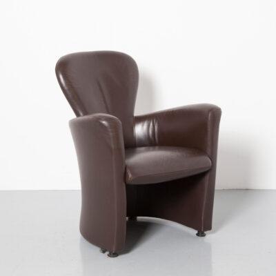 Кресло Amphora Frans Schrofer Leolux коричневая кожаная ванна в форме бочки с округлыми формами компактное мягкое кресло современное современное 90-е 1990-е годы XNUMX-е годы