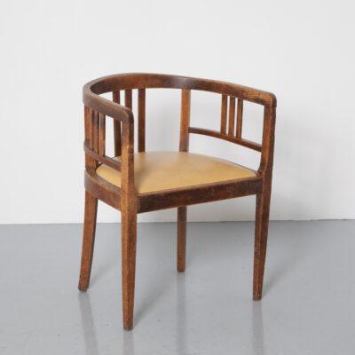 Искусство и ремесла Деревянный стул для ванны в стиле Глазго, массивный дуб, вощеный, горчичное сиденье из кожзаменителя Thonet, английский стиль, брокант, винтаж, ретро, рубеж веков, задние подлокотники, полукруглые, легкие сиденья для кресел для отдыха